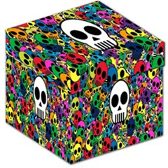 Skull Background Bright Multi Colored Storage Stool 12   by Simbadda