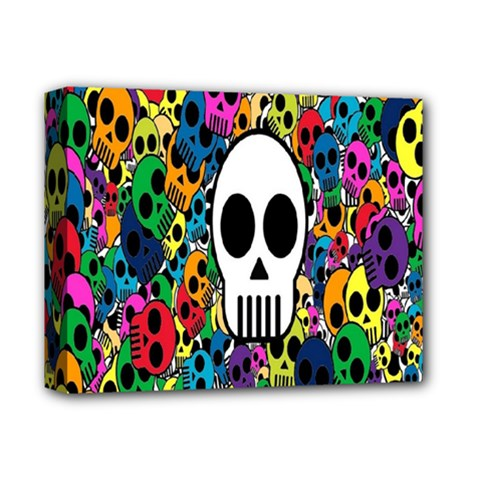Skull Background Bright Multi Colored Deluxe Canvas 14  X 11  by Simbadda