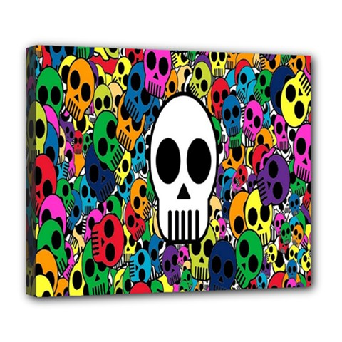 Skull Background Bright Multi Colored Deluxe Canvas 24  X 20   by Simbadda