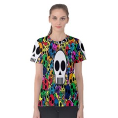 Skull Background Bright Multi Colored Women s Cotton Tee by Simbadda