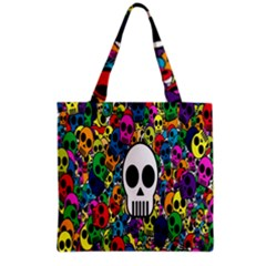 Skull Background Bright Multi Colored Grocery Tote Bag by Simbadda