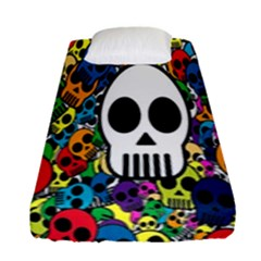 Skull Background Bright Multi Colored Fitted Sheet (single Size) by Simbadda