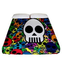 Skull Background Bright Multi Colored Fitted Sheet (king Size) by Simbadda