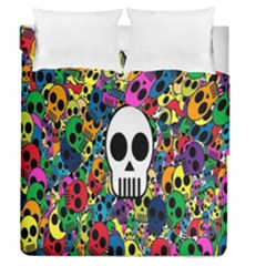 Skull Background Bright Multi Colored Duvet Cover Double Side (queen Size) by Simbadda
