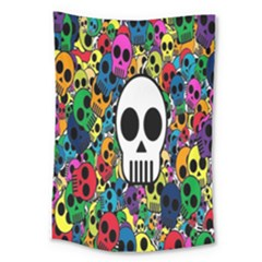 Skull Background Bright Multi Colored Large Tapestry