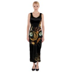 Sphynx Cat Fitted Maxi Dress by Valentinaart
