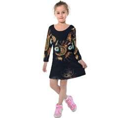 Sphynx Cat Kids  Long Sleeve Velvet Dress by Valentinaart