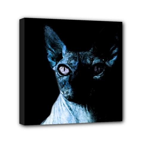 Blue Sphynx Cat Mini Canvas 6  X 6  by Valentinaart