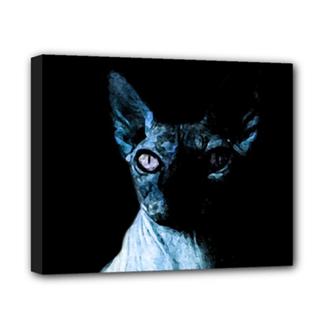 Blue Sphynx Cat Canvas 10  X 8  by Valentinaart