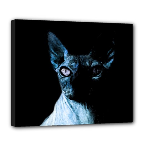 Blue Sphynx Cat Deluxe Canvas 24  X 20   by Valentinaart