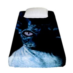 Blue Sphynx Cat Fitted Sheet (single Size) by Valentinaart