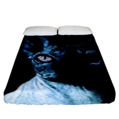 Blue Sphynx Cat Fitted Sheet (king Size) by Valentinaart