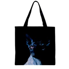 Blue Sphynx Cat Zipper Grocery Tote Bag by Valentinaart