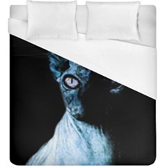Blue Sphynx Cat Duvet Cover (king Size) by Valentinaart