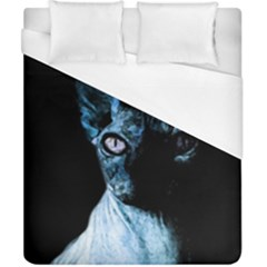Blue Sphynx Cat Duvet Cover (california King Size) by Valentinaart