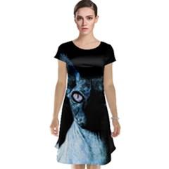 Blue Sphynx Cat Cap Sleeve Nightdress by Valentinaart