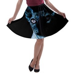 Blue Sphynx Cat A Line Skater Skirt by Valentinaart