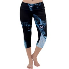 Blue Sphynx Cat Capri Yoga Leggings by Valentinaart