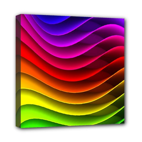 Spectrum Rainbow Background Surface Stripes Texture Waves Mini Canvas 8  X 8  by Simbadda