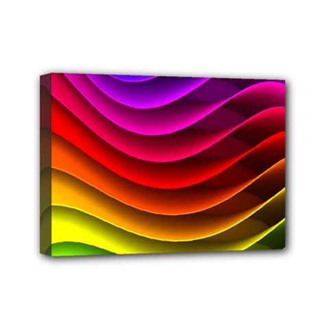 Spectrum Rainbow Background Surface Stripes Texture Waves Mini Canvas 7  X 5  by Simbadda