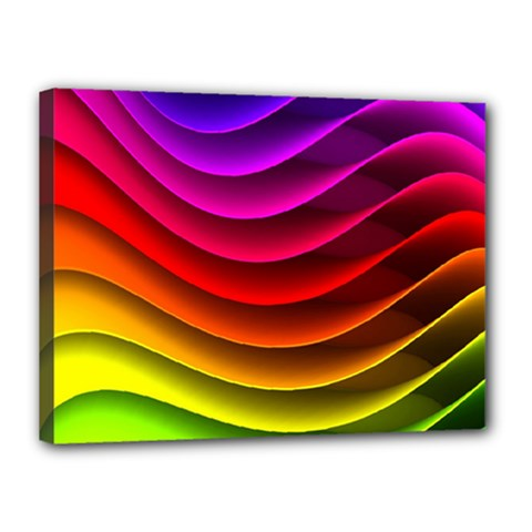 Spectrum Rainbow Background Surface Stripes Texture Waves Canvas 16  X 12  by Simbadda