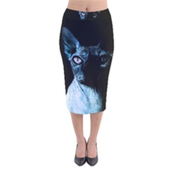 Blue Sphynx Cat Velvet Midi Pencil Skirt by Valentinaart
