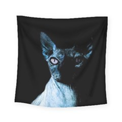Blue Sphynx Cat Square Tapestry (small) by Valentinaart