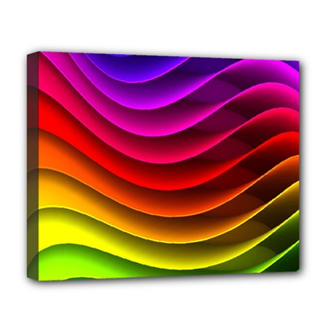 Spectrum Rainbow Background Surface Stripes Texture Waves Deluxe Canvas 20  X 16   by Simbadda