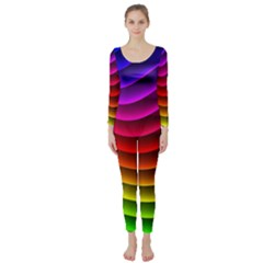 Spectrum Rainbow Background Surface Stripes Texture Waves Long Sleeve Catsuit