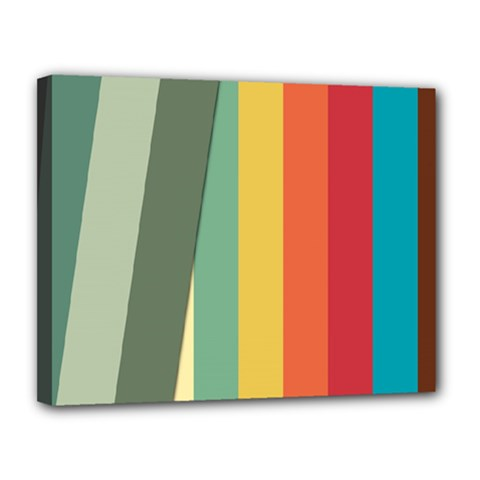 Texture Stripes Lines Color Bright Canvas 14  X 11  by Simbadda