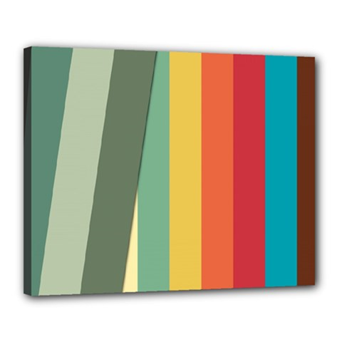 Texture Stripes Lines Color Bright Canvas 20  X 16  by Simbadda