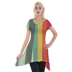 Texture Stripes Lines Color Bright Short Sleeve Side Drop Tunic by Simbadda