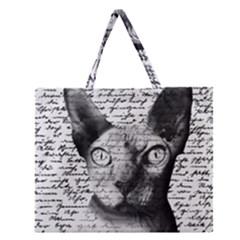 Sphynx Cat Zipper Large Tote Bag by Valentinaart