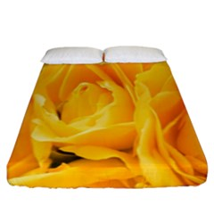 Yellow Neon Flowers Fitted Sheet (king Size) by Simbadda
