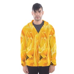 Yellow Neon Flowers Hooded Wind Breaker (men) by Simbadda