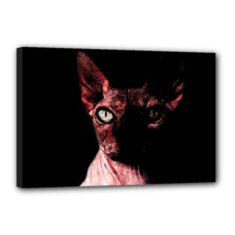 Sphynx Cat Canvas 18  X 12  by Valentinaart