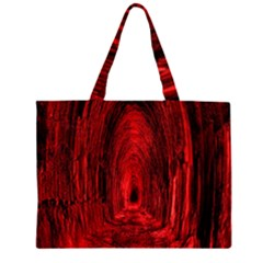 Tunnel Red Black Light Zipper Large Tote Bag by Simbadda