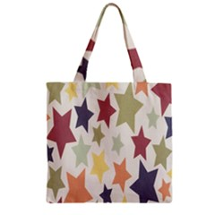 Star Colorful Surface Zipper Grocery Tote Bag by Simbadda