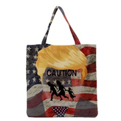 Caution Grocery Tote Bag by Valentinaart