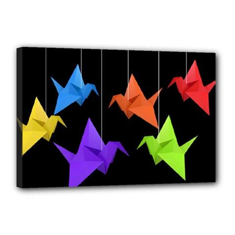 Paper Cranes Canvas 18  X 12  by Valentinaart