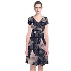 Paper Cranes Short Sleeve Front Wrap Dress by Valentinaart