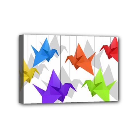 Paper Cranes Mini Canvas 6  X 4  by Valentinaart