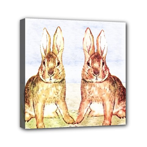 Rabbits  Mini Canvas 6  X 6  by Valentinaart