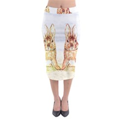 Rabbits  Midi Pencil Skirt by Valentinaart
