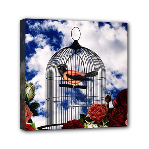 Vintage Bird In The Cage  Mini Canvas 6  X 6  by Valentinaart