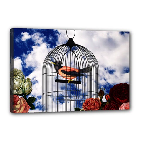 Vintage Bird In The Cage  Canvas 18  X 12  by Valentinaart