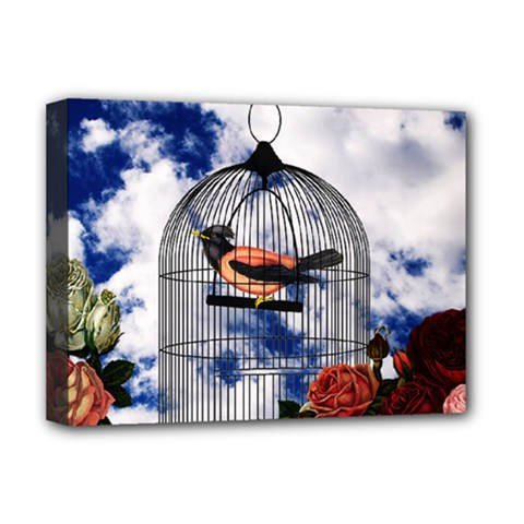 Vintage Bird In The Cage  Deluxe Canvas 16  X 12   by Valentinaart