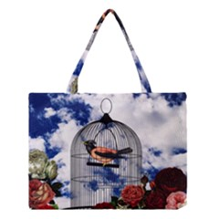 Vintage Bird In The Cage  Medium Tote Bag by Valentinaart