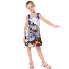 Vintage bird in the cage  Kids  Sleeveless Dress