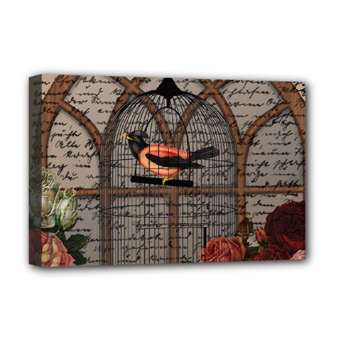 Vintage Bird In The Cage Deluxe Canvas 18  X 12   by Valentinaart